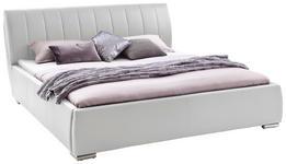 POLSTERBETT 180/200 cm  in Weiß  - Chromfarben/Weiß, Design, Holz/Textil (180/200cm) - Xora