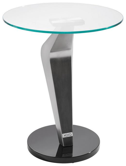 BEISTELLTISCH rund Schwarz, Silberfarben - Silberfarben/Schwarz, Design, Glas/Metall (45,7/54,6cm) - Xora