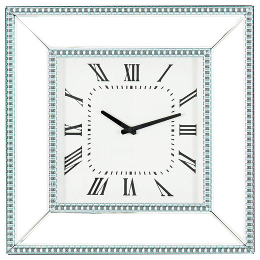 WANDUHR - Silberfarben, Design, Glas/Holzwerkstoff (50,5/50,5/5cm) - Xora
