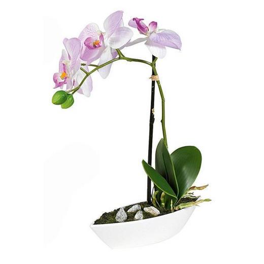 KUNSTPFLANZE Orchidee - Lila/Grün, Basics, Kunststoff/Textil (28cm)