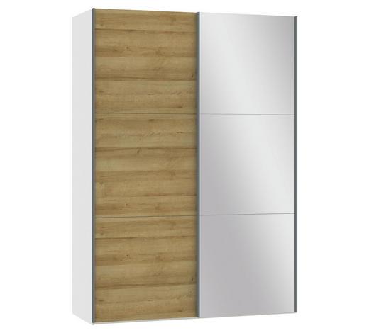 SCHWEBETÜRENSCHRANK in Weiß, Eichefarben - Eichefarben/Silberfarben, Design, Glas/Holzwerkstoff (152,2/220/65cm) - Jutzler