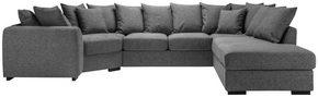 SOFFA - ljusgrå/svart, Klassisk, trä/textil (174/374/241cm) - Carryhome