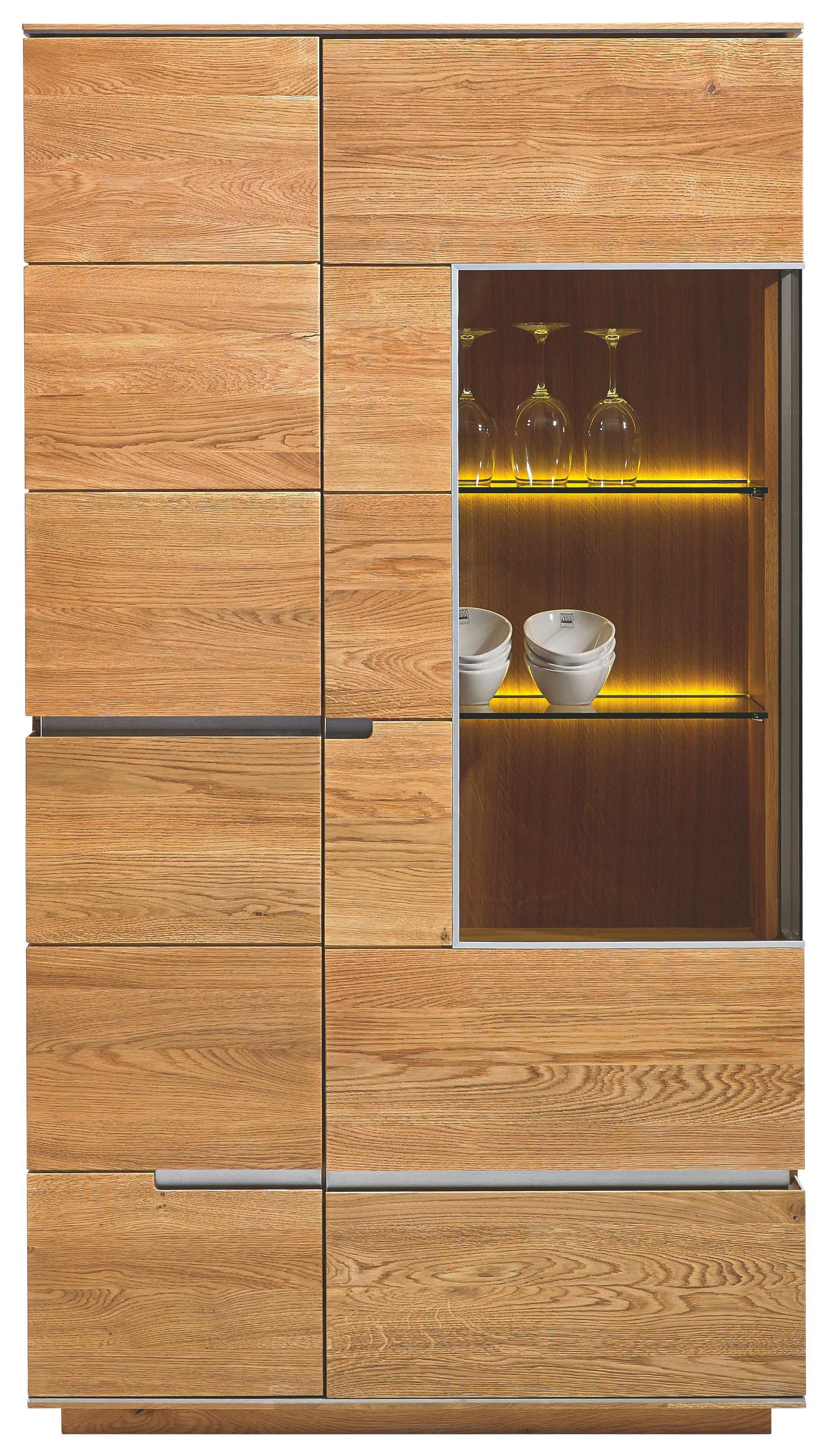 VITRINE Asteiche massiv Eichefarben - Eichefarben/Nickelfarben, Design, Glas/Holz (97/177/42cm) - CASSANDO