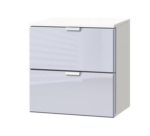 KOMMODE Weiß, Hellgrau  - Hellgrau/Alufarben, KONVENTIONELL, Glas/Metall (40/42/42cm) - Carryhome