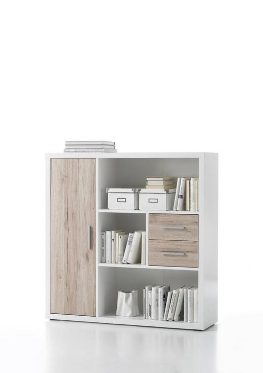 HIGHBOARD Eichefarben, Weiß - Eichefarben/Silberfarben, Basics, Holzwerkstoff/Kunststoff (116/118/33cm) - Carryhome