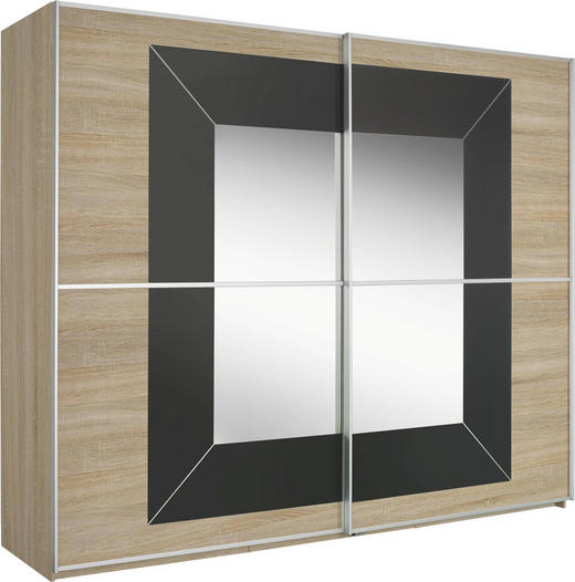 SCHIEBETÜRENSCHRANK 2-türig Dunkelgrau, Sonoma Eiche - Dunkelgrau/Alufarben, Design, Glas/Holzwerkstoff (270/223/69cm) - Cantus