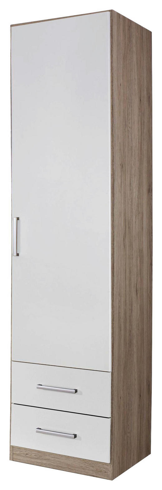 DREHTÜRENSCHRANK Eichefarben, Weiß - Eichefarben/Silberfarben, Design, Holzwerkstoff (47/197/54cm) - Carryhome