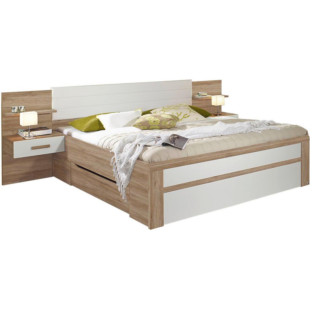 Bett in weiß, eichefarben , Bernau 180X200 , Textil, Holzwerkstoff , 285x96x208 cm , bedruckt,Lederlook,Nachbildung , 000380028802