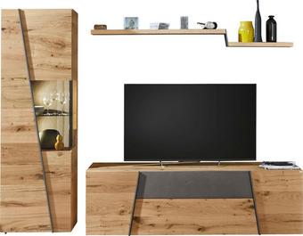 OBÝVACÍ STĚNA, barvy dubu, šedá - šedá/barvy dubu, Natur, kov/dřevo (272/202/57cm) - Voglauer