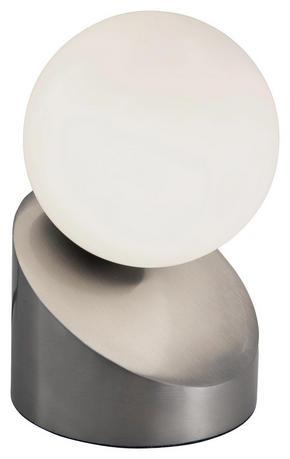 LED BORDSLAMPA - vit/nickelfärgad, Design, metall/glas (16cm) - Boxxx