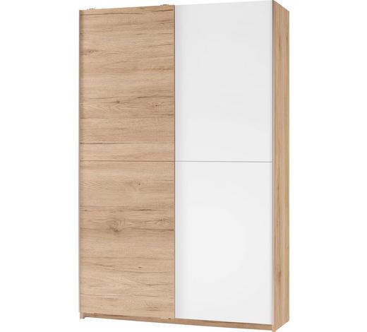 VEČNAMENSKA OMARA, bela, hrast - aluminij/hrast, Design, umetna masa/leseni material (125/196/38cm) - Carryhome