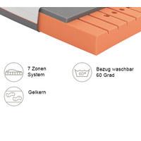 GELSCHAUMMATRATZE Primus 270 90/200 cm  - Dunkelgrau/Weiß, Basics, Textil (90/200cm) - Schlaraffia