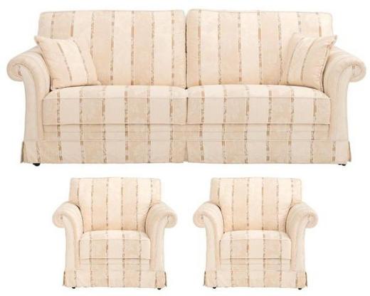 SITZGARNITUR in Textil Beige - Beige/Schwarz, LIFESTYLE, Kunststoff/Textil (207/88/90cm) - Elegando