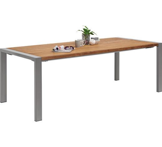 GARTENTISCH Holz, Metall Edelstahlfarben, Teakfarben  - Edelstahlfarben/Teakfarben, ROMANTIK / LANDHAUS, Holz/Metall (220/100/76cm) - Amatio