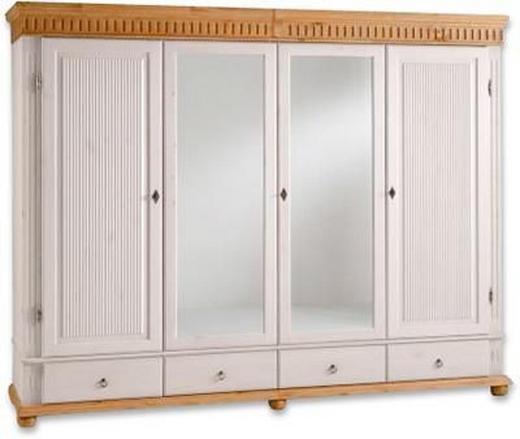 KLEIDERSCHRANK 4  -türig Kiefer massiv Kieferfarben, Weiß - Weiß/Kieferfarben, Design, Holz/Metall (252/218/62cm) - CARRYHOME