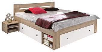 POSTELOVÁ SESTAVA - bílá/barvy dubu, Design, dřevěný materiál (140/200cm) - CARRYHOME