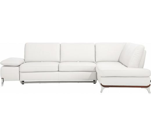 WOHNLANDSCHAFT in Leder Weiß - Alufarben/Weiß, Design, Leder/Metall (283/213cm) - Dieter Knoll