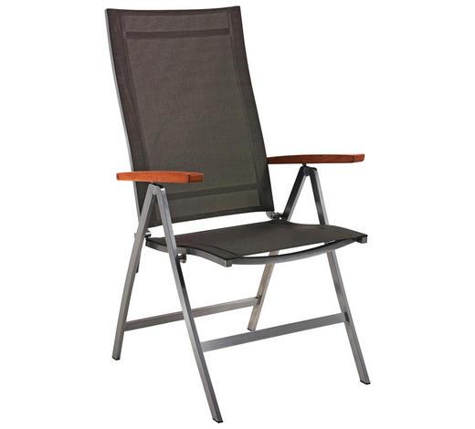 GARTENKLAPPSESSEL - Taupe/Edelstahlfarben, Design, Holz/Textil (68/112/65cm)