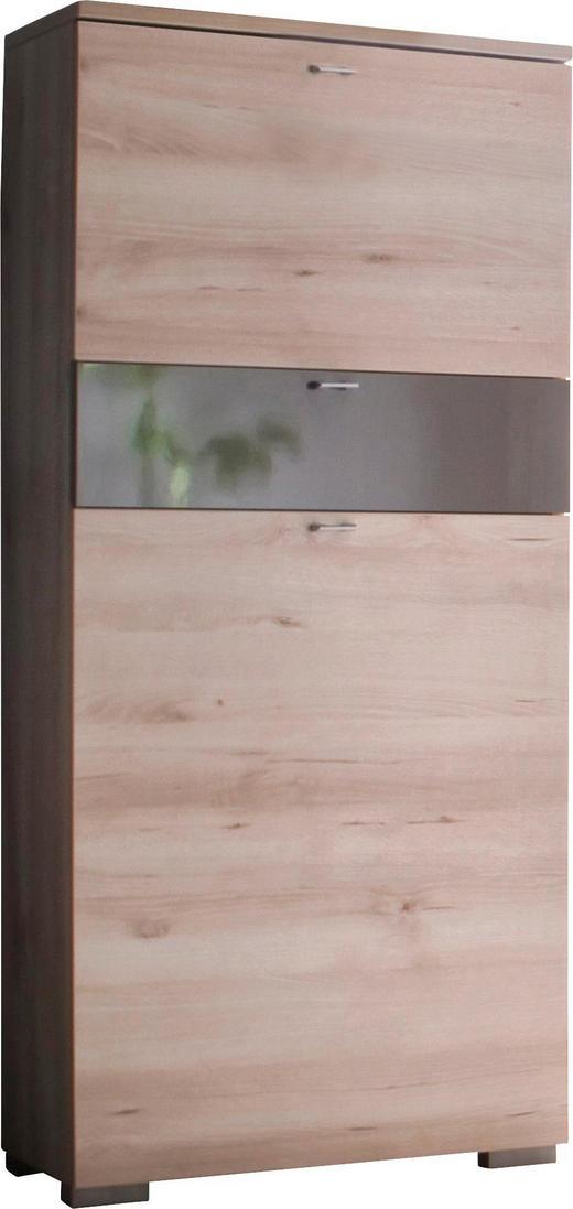 SCHUHSCHRANK Buche Braun, Buchefarben - Buchefarben/Silberfarben, Design, Holzwerkstoff/Metall (60/140/34cm) - Cassando
