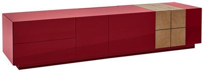 LOWBOARD Eiche furniert Eichefarben, Dunkelrot  - Eichefarben/Dunkelrot, Design, Holz/Holzwerkstoff (210/46/52cm) - Ambiente