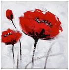 Blumen ÖLGEMÄLDE - Rot/Weiß, LIFESTYLE, Holz/Textil (30/30cm) - Monee
