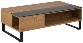 COUCHTISCH in Metall, Glas, Holzwerkstoff 110/60/35 cm   - Eichefarben/Schwarz, Design, Glas/Holzwerkstoff (110/60/35cm) - Carryhome