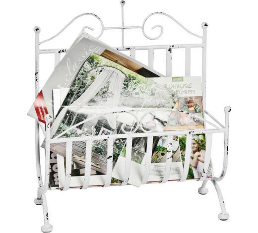 STOJAN NA NOVINY, bílá - bílá, Design, kov (37/44/18cm) - Ambia Home