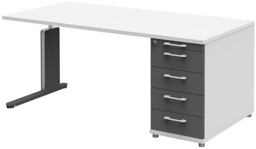 SCHREIBTISCH - Anthrazit/Weiß, Design, Holzwerkstoff/Metall (160/72-78/80cm)