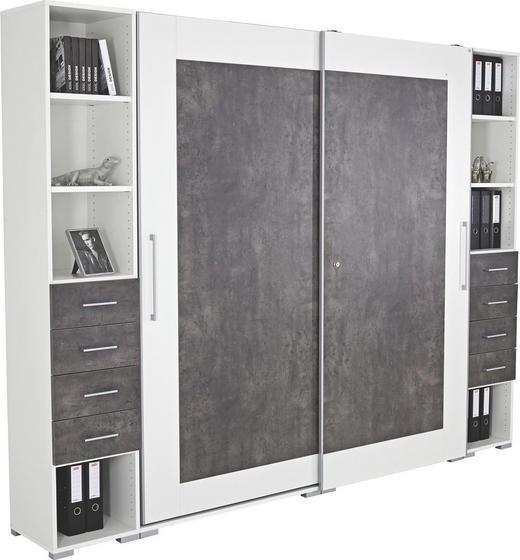 BÜRO Beimöbel erhältlich, erweiterbar Dunkelgrau, Weiß - Dunkelgrau/Weiß, Design (280/220,5/42,6cm)