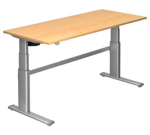 SCHREIBTISCH - Silberfarben/Ahornfarben, Design, Holzwerkstoff/Metall (180/66-130/80cm)