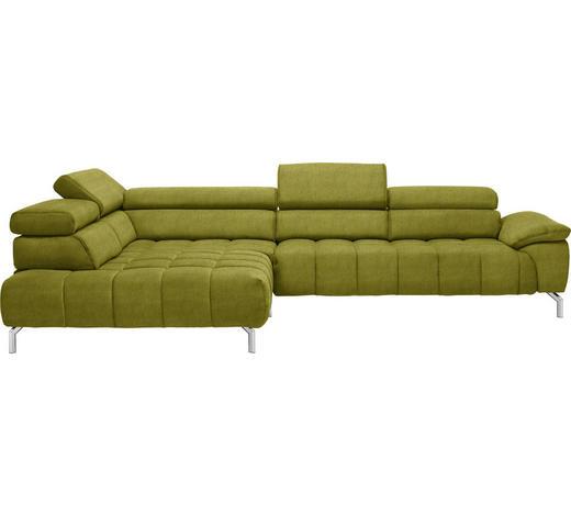 WOHNLANDSCHAFT in Textil Grün - Chromfarben/Grün, Design, Textil/Metall (222/323cm) - Beldomo Style