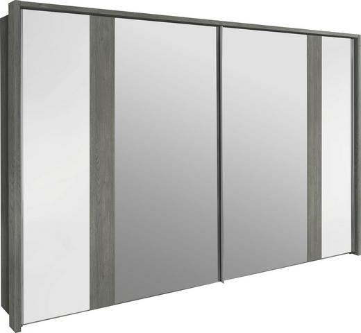 SCHWEBETÜRENSCHRANK 2-türig Silbereichenfarben, Weiß - Weiß/Silbereichenfarben, Design, Holzwerkstoff (200/223/69cm) - Visionight