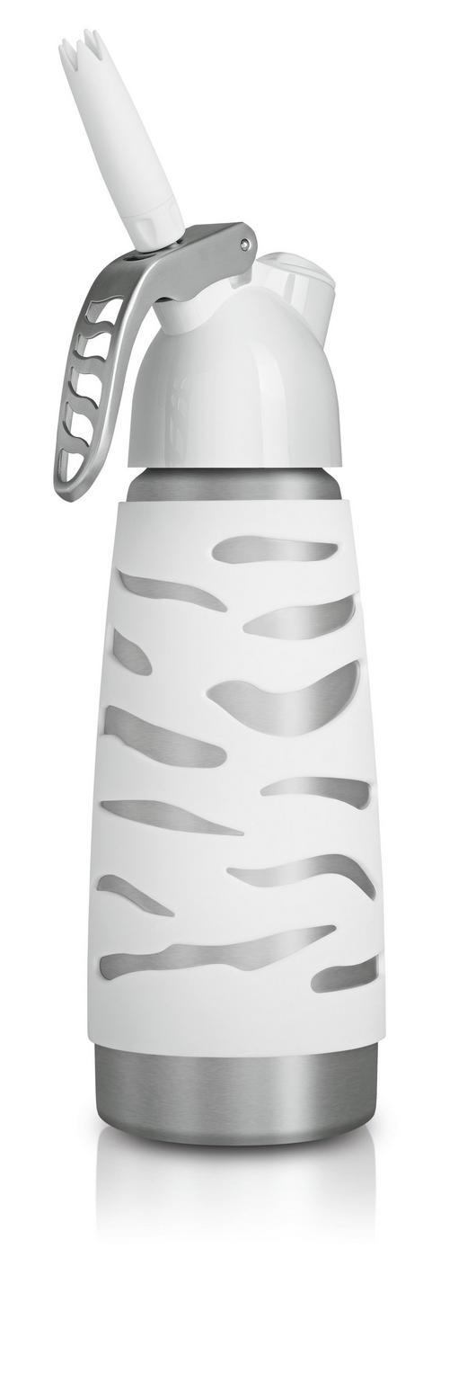 SAHNEBEREITER - Silberfarben/Weiß, Basics, Kunststoff/Metall (0,5l) - ISI