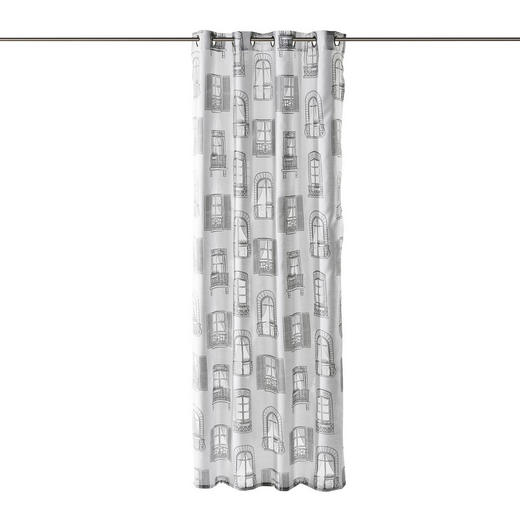 ÖSENSCHAL  halbtransparent  140/245 cm - Weiß/Grau, Trend, Textil (140/245cm) - Esposa