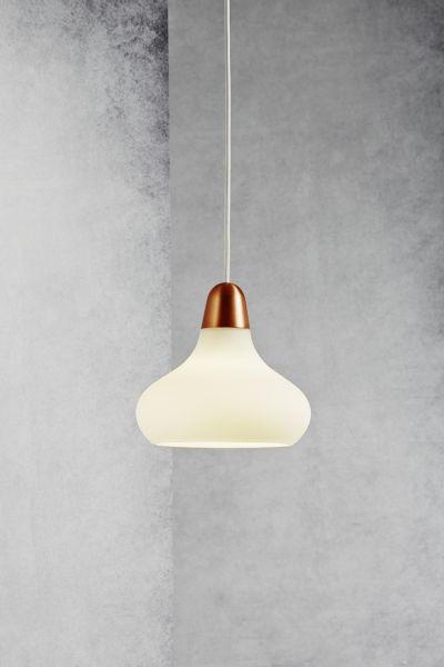 HÄNGELEUCHTE - Weiß/Kupferfarben, LIFESTYLE, Glas/Metall (21/19cm)