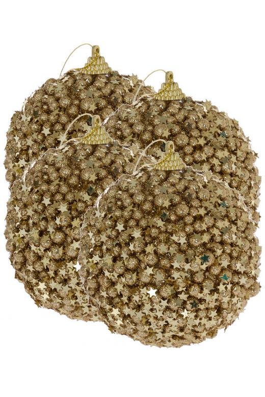 CHRISTBAUMKUGEL-SET  4-teilig Champagner - Champagner, Kunststoff (10cm)