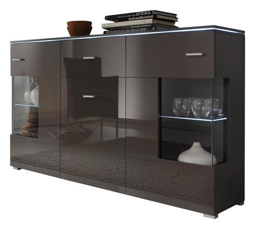 SIDEBOARD Hochglanz, melaminharzbeschichtet Grau - Silberfarben/Grau, Design, Glas/Holz (150/91/37cm) - Carryhome