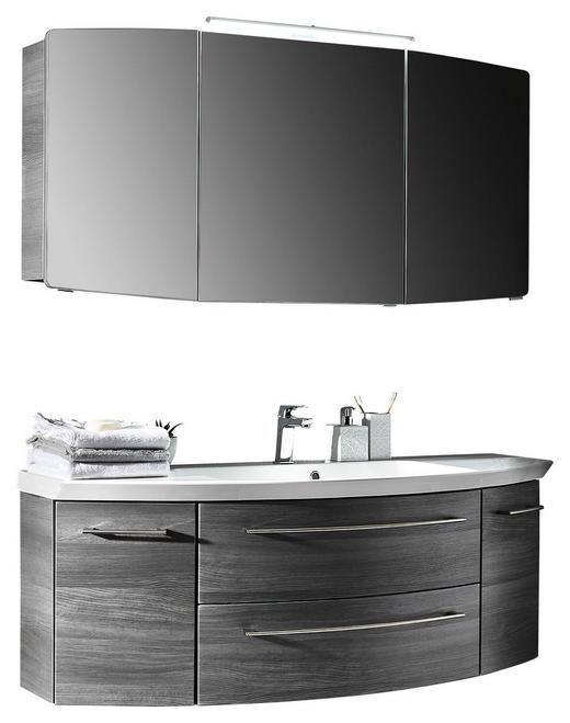 BADEZIMMER Grau - Weiß/Grau, Design, Stein (141cm) - Sadena