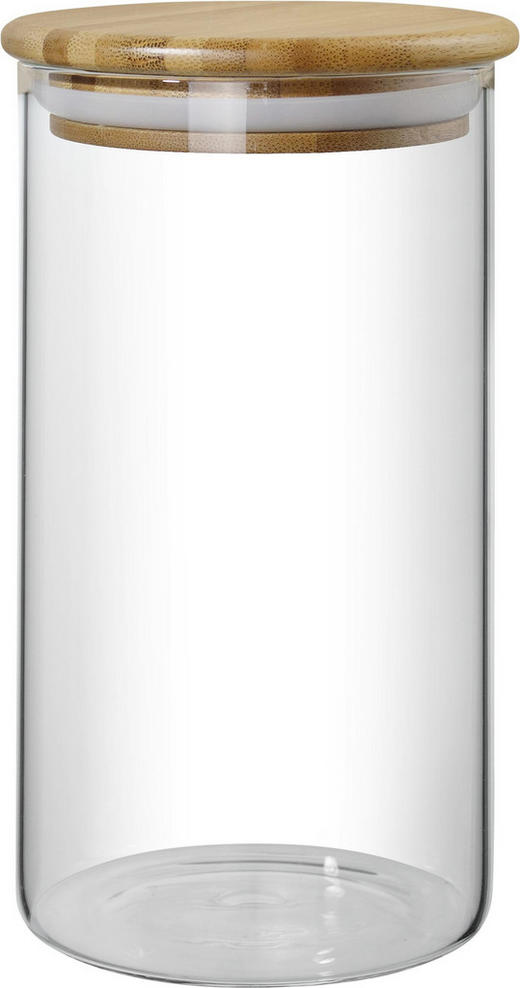 VORRATSDOSE 0,8 L - Klar/Naturfarben, Basics, Glas/Holz (10/18cm) - HOMEWARE