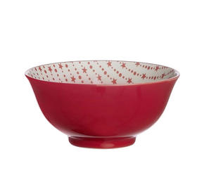 MÜSLISKÅL - vit/röd, Basics, keramik (15cm) - Landscape