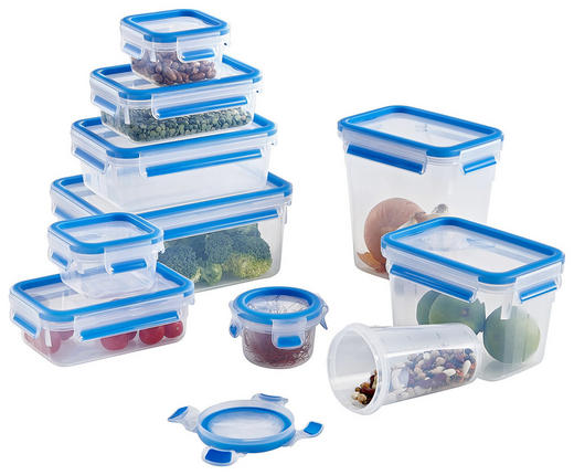 VORRATSDOSENSET 10-teilig - Blau/Klar, Basics, Kunststoff - Emsa