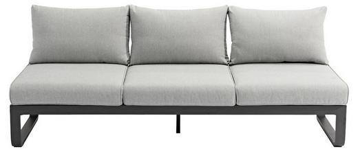 LOUNGESOFA Flachgewebe Aluminium - Hellgrau/Graphitfarben, Design, Textil/Metall (207/82/70cm) - Zebra Süd