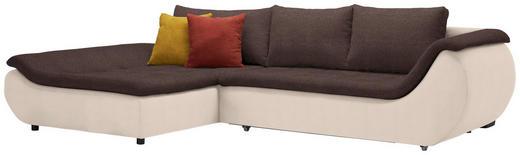 WOHNLANDSCHAFT Webstoff Rückenkissen, Schlaffunktion, Zierkissen - Beige/Dunkelbraun, Design, Kunststoff/Textil (185/310cm) - Carryhome