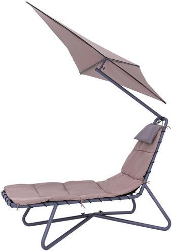 GARTENLIEGE - Taupe/Schwarz, Design, Textil/Metall (175/205/190cm) - Ambia Garden