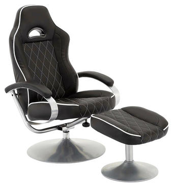 SADA RELAXAČNÍCH KŘESEL - bílá/černá, Design, kov/textil (69/97-109/75,5-110cm) - Carryhome