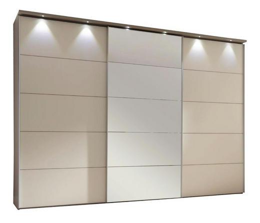SCHWEBETÜRENSCHRANK 3-türig Magnolie, Sandfarben - Sandfarben/Magnolie, Design, Glas/Holzwerkstoff (298/240/68cm) - Moderano