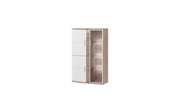 VITRINE in Weiß, Eichefarben  - Eichefarben/Alufarben, Design, Glas/Holzwerkstoff (95,3/146,8/40,4cm) - Xora