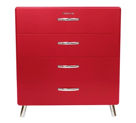 KOMMODE lackiert, Melamin Rot - Chromfarben/Rot, Design, Metall (86/92/43cm) - Carryhome