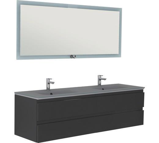 BADEZIMMER - Schwarz, Design, Glas/Holzwerkstoff (160cm)