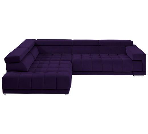 WOHNLANDSCHAFT in Textil Violett - Chromfarben/Violett, Design, Textil/Metall (222/323cm) - Beldomo Style